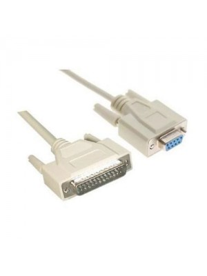 CABLE SERIE NULL MODEM, DB9F-DB25M, 1.8 M