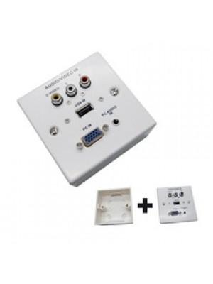 PLACA PARED VGA+JACK3.5+USB2.0+3xRCA + CAJA