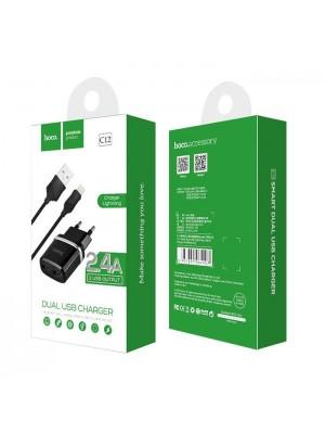 ADAPTADOR 220V + IPHONE 2.4A C12 NEGRO