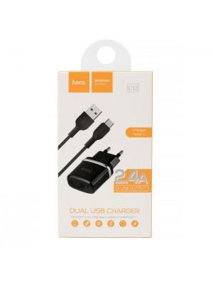 ADAPTADOR 220V + USB C 2.4A C12 NEGRO