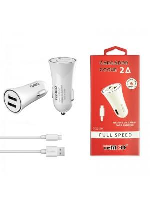 ADAPTADOR 12V COCHE A 2 USB CC2-2M 2.4A + CABLE MICRO USB