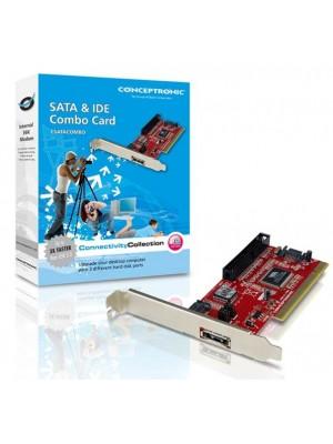 Conceptronic SATA + e-SATA & IDE Combo Card - Tarjeta interna