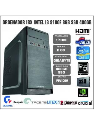 ORDENADOR IBX INTEL I3 9100F 8GB SSD 480GB
