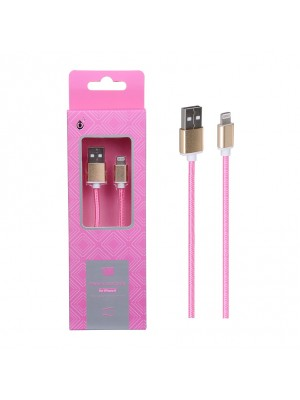 CABLE USB IPHONE 5 6 7 METAL ROSA